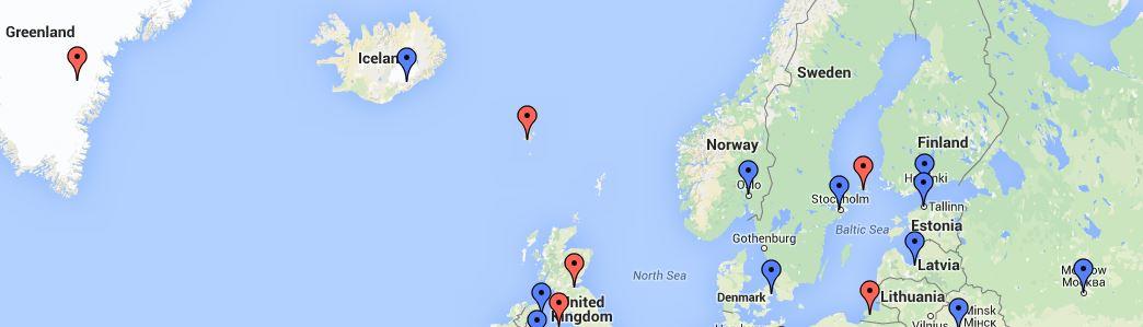 TCC kartta Pohjois-Eurooppa
