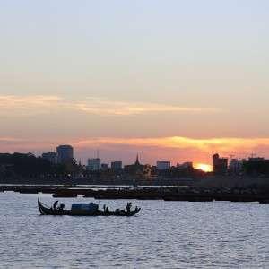 Sunset Mekong Phnom Penh Cambodia