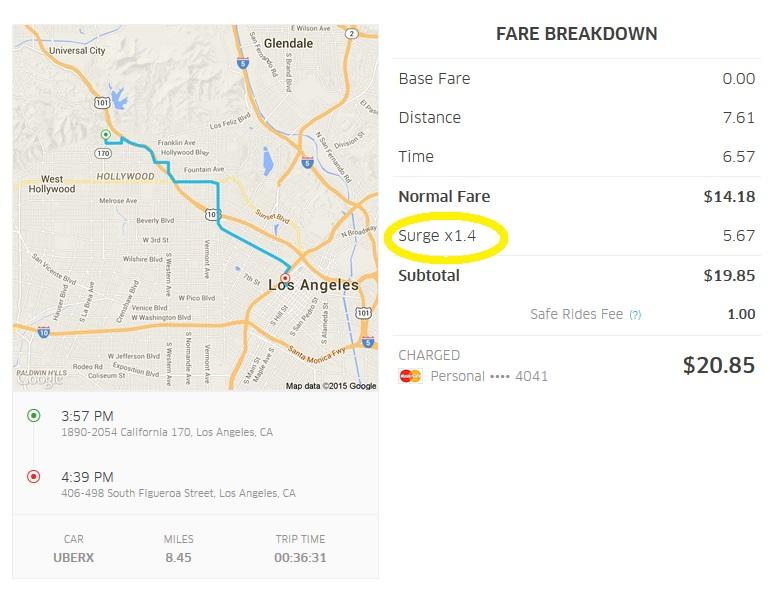 Uber ride in LA