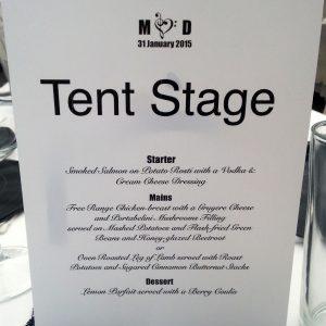 Wedding South Africa - menu