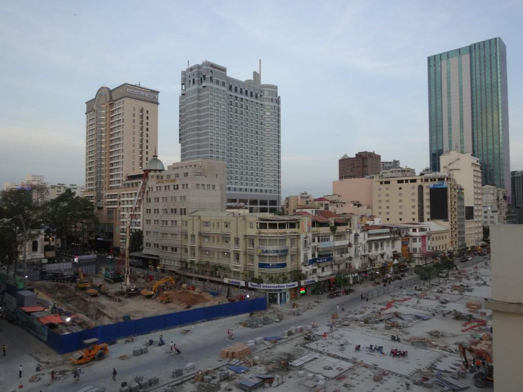 Saigonin keskusta metrotyömaa