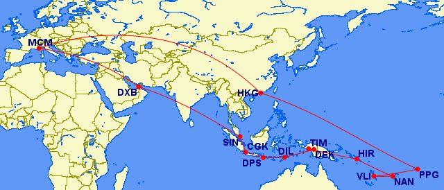 Route with Great Circle mapper