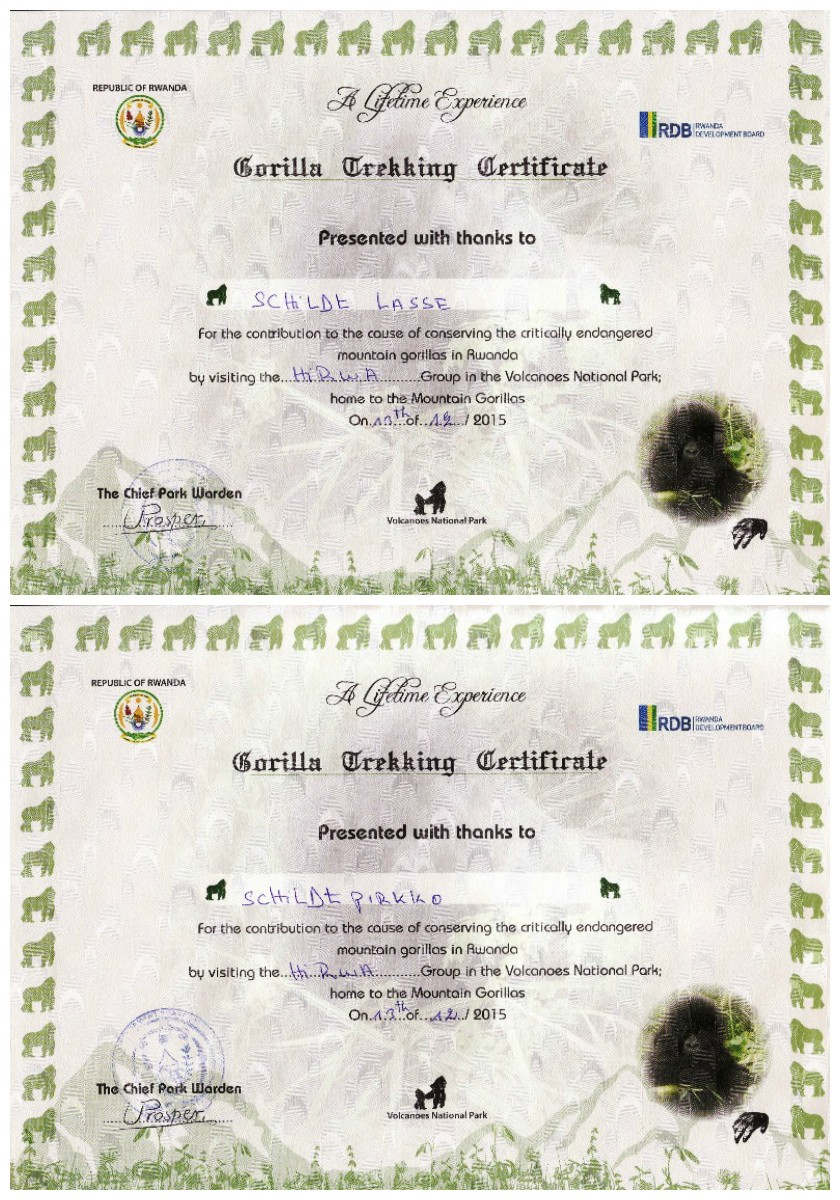 Rwanda Gorilla Certificates