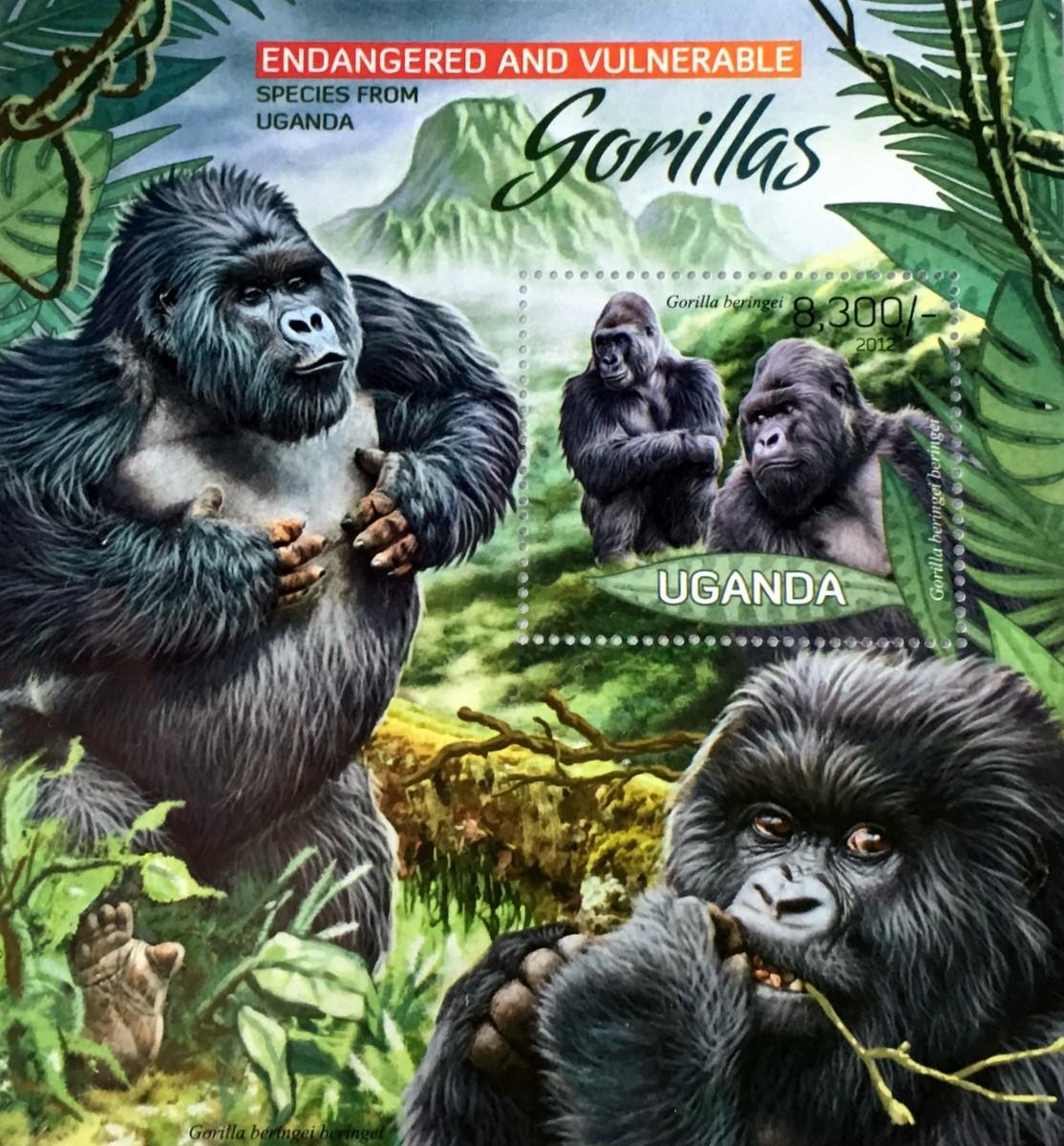 Rwanda mountain gorillas stamp