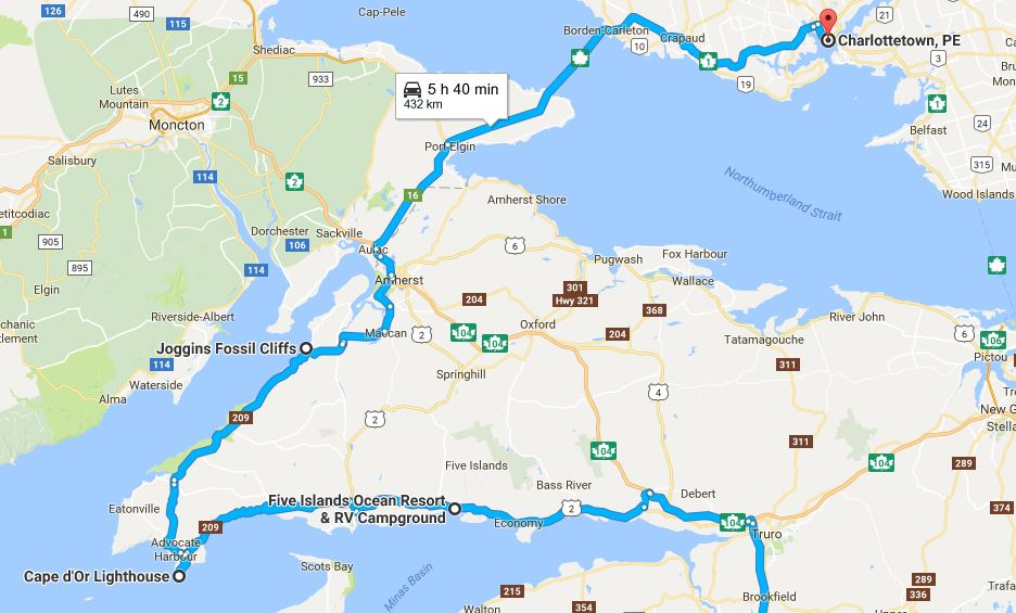 Halifax PEI reitti