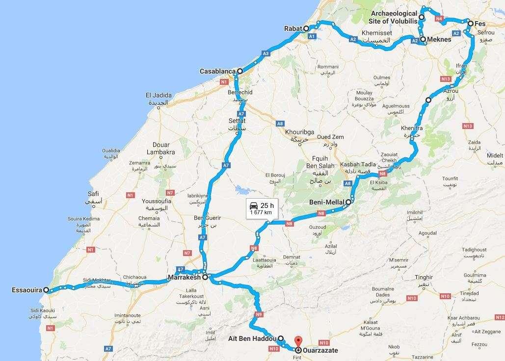 Marokko koko reitti