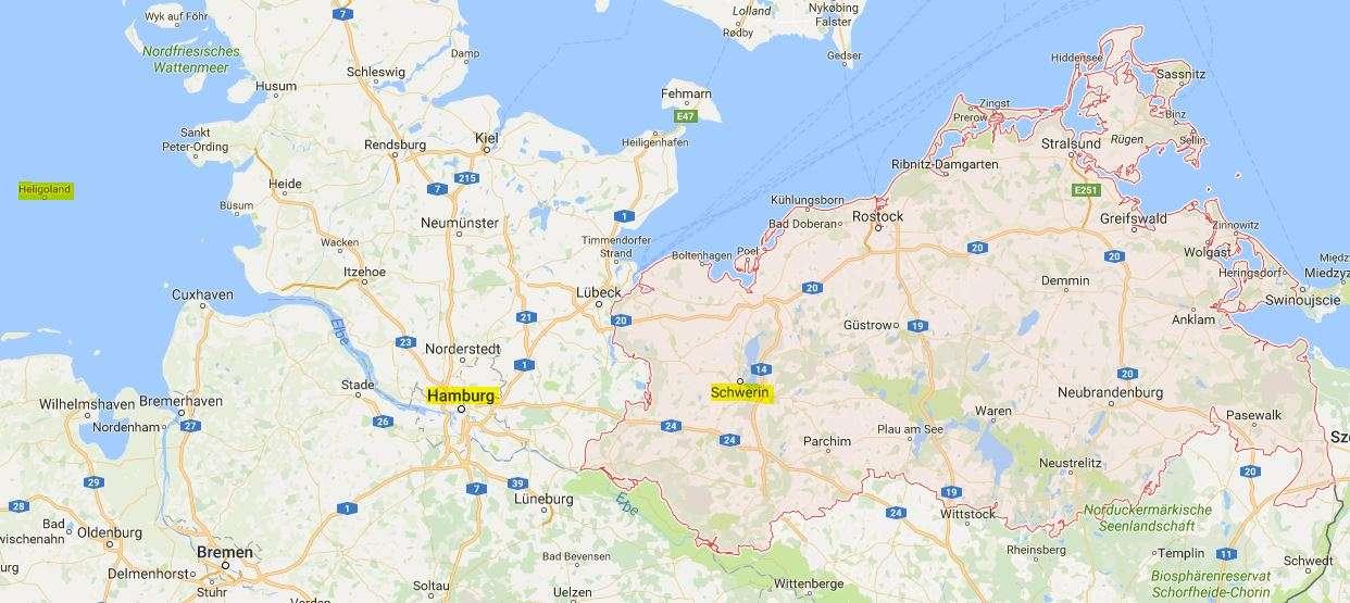 Schwerin, Hampuri, Helgoland