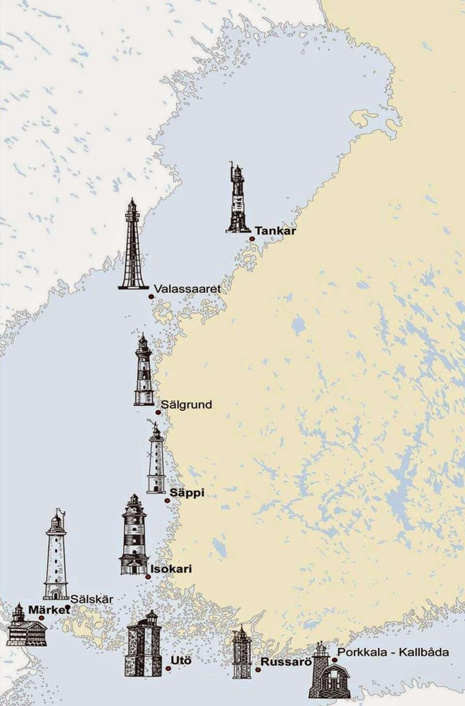 Suomen majakoita. Kuva: Liikennevirasto