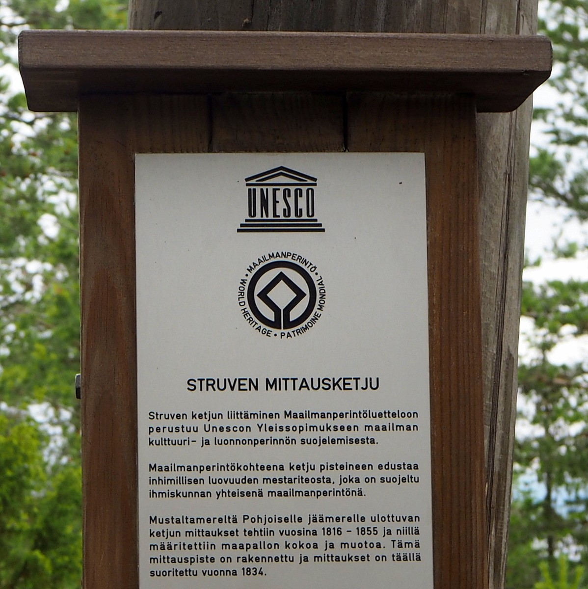Oravivuori Struven ketju Unesco