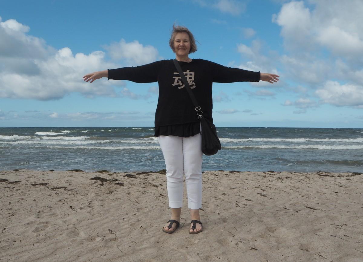 Bloggaaja Toftan rannalla Visby Tofta Gnisvärd