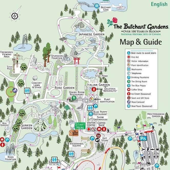Butchart Garden Map
