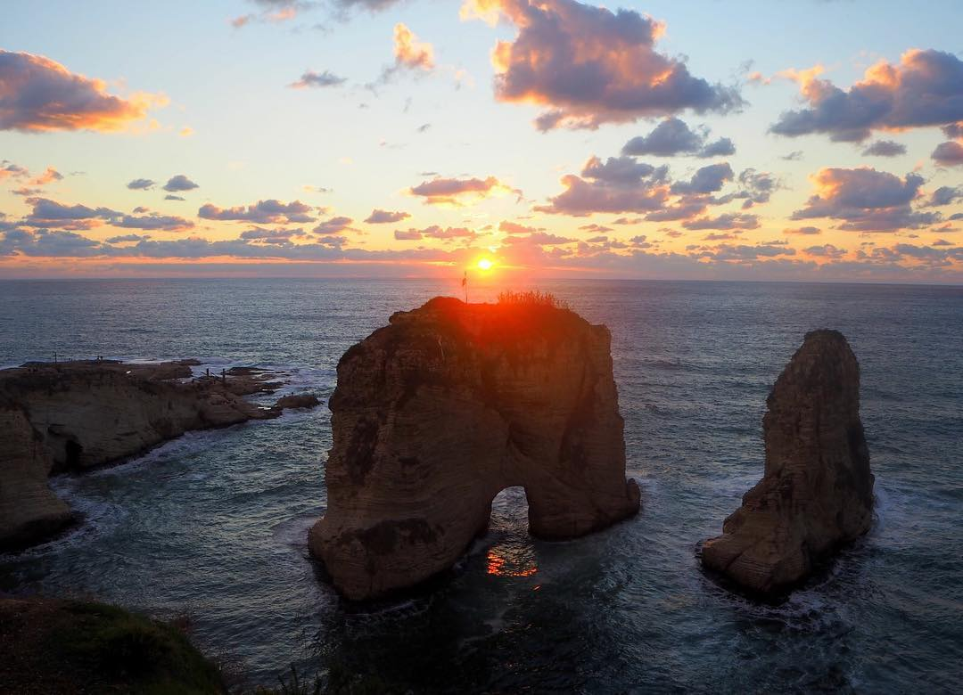 Pigeon's Rock at sunset in Beirut