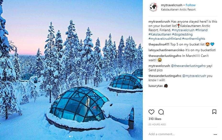 Kakslauttanen IG Lasi-iglut Suomessa