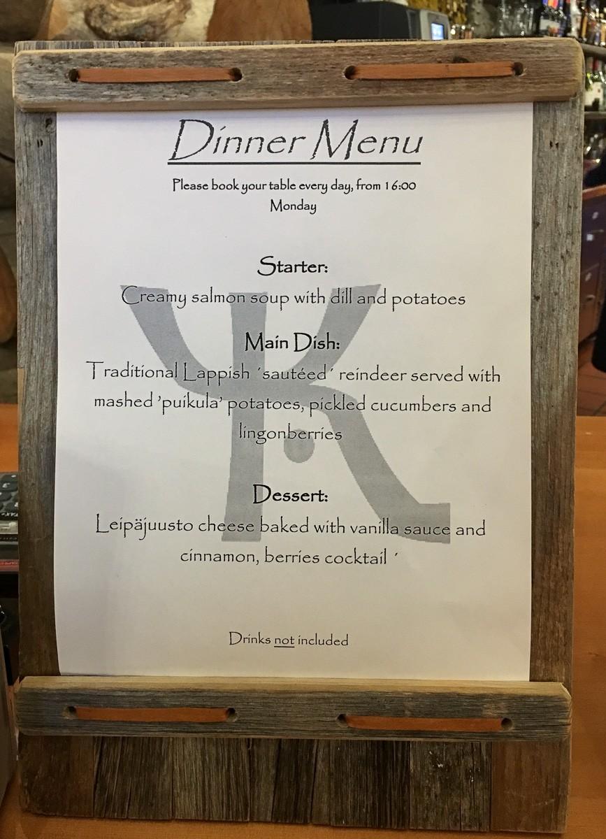 Kakslauttanen menu