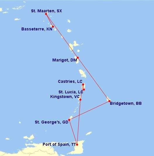 Karibia lentokartta