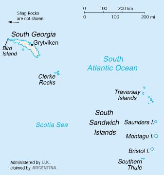 Etelä-Georgia TCC:n 327 aluetta