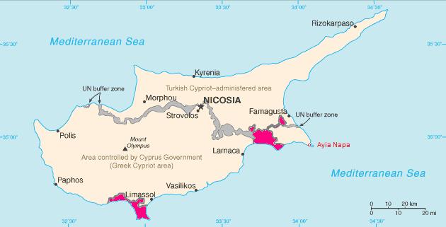 alueet kypros TCC:n 327 aluetta