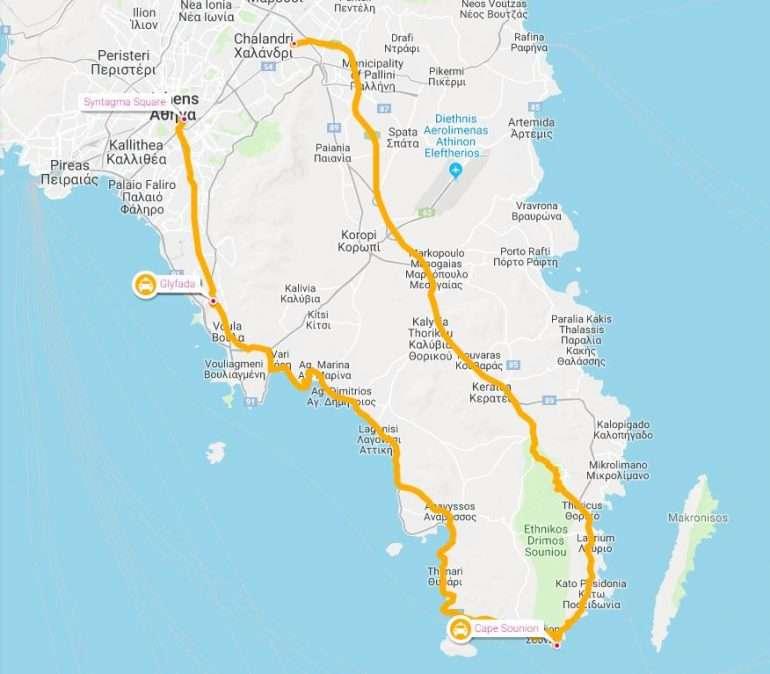 Cape Sounion retki kartta Cape Sounion ja Poseidonin temppeli