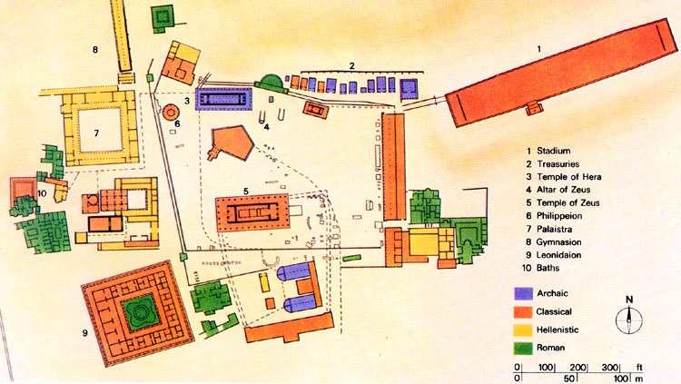 Olympia alueen kartta Kreikka