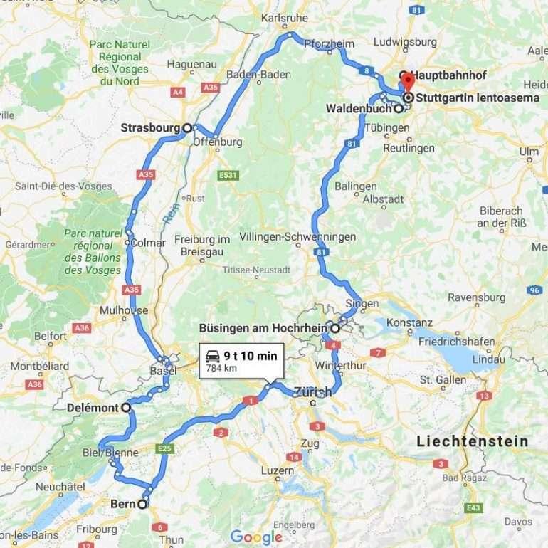 Stuttgart reitti Berniin