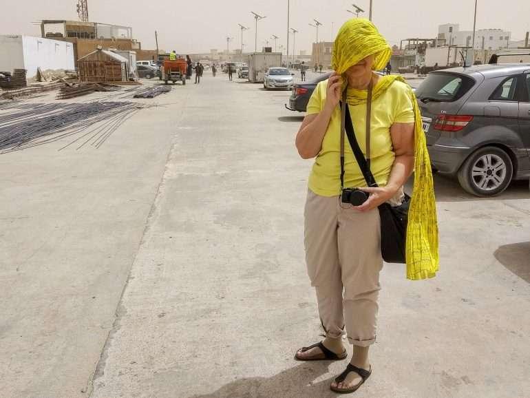 Hiekkamyrskyltä suojautumista Mauretaniassa Matkavuosi 2019