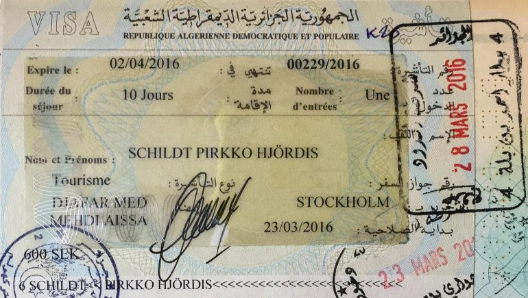 Algeria viisumi Cool & Rare Passport Stamps