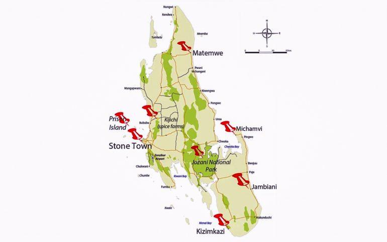 Sansibar kartta Sansibarin saarikierros