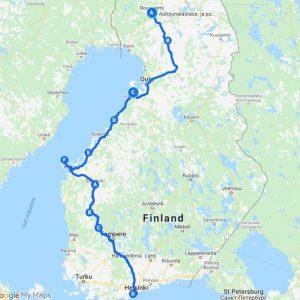 2021 paluukartta Reitti Rovaniemeltä Espooseen